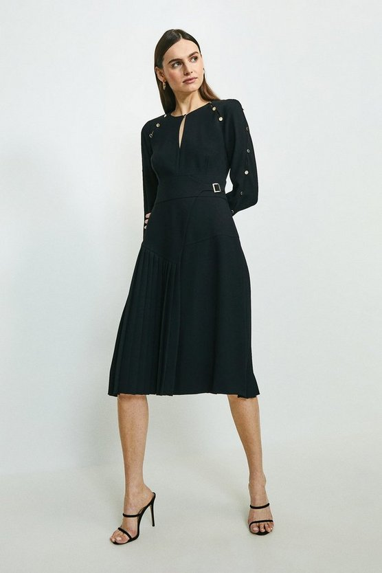 Black Long Sleeve Military Pleat Midi Dress