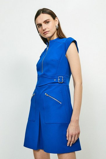 Cobalt Double Buckle A-line Dress
