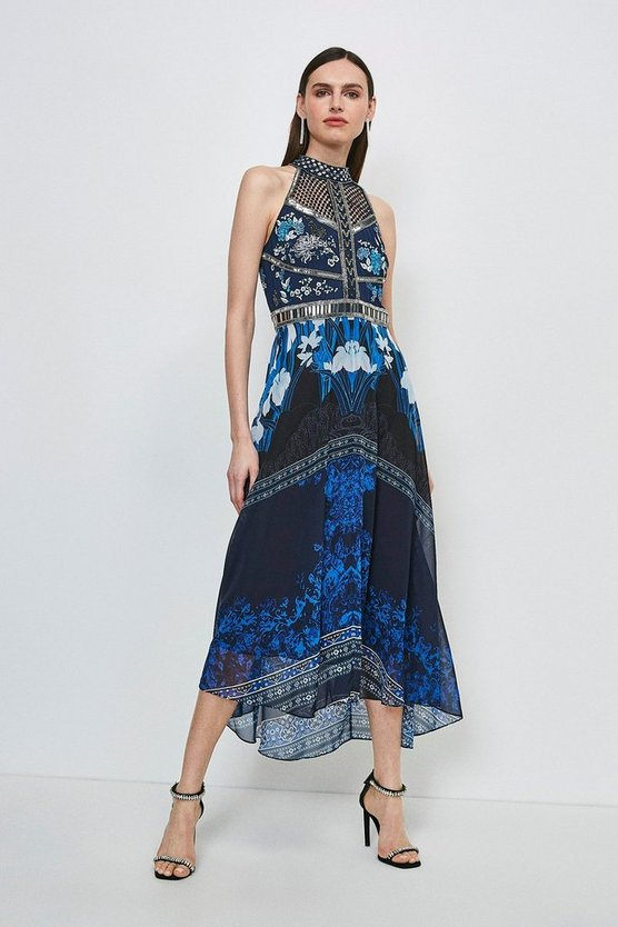 Blue Embroidered And Beaded Floral Midi Dress