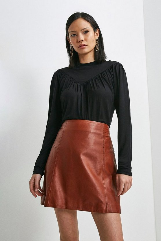 Black Viscose Jersey Button Neck Top