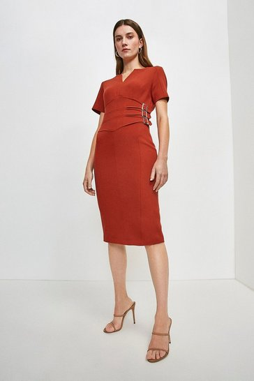 Rust Compact Stretch Buckle Detail Pencil Dress