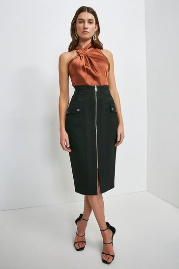 Black Structured Crepe Panelled Pencil Skirt