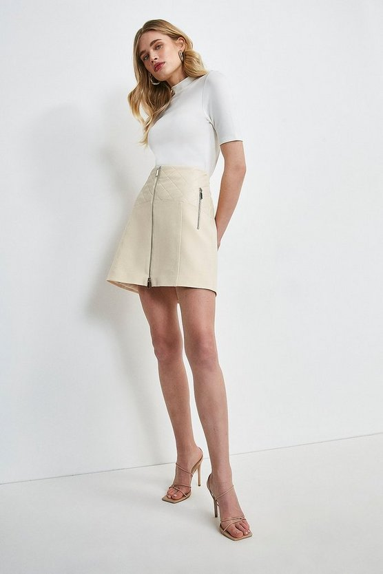 Cream Forever Faux Leather Panelled Zip Skirt