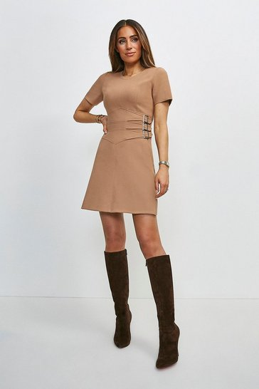 Camel Compact Stretch Buckle Detail A Line Dress