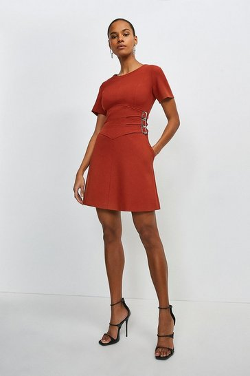 Rust Compact Stretch Buckle Detail A Line Dress