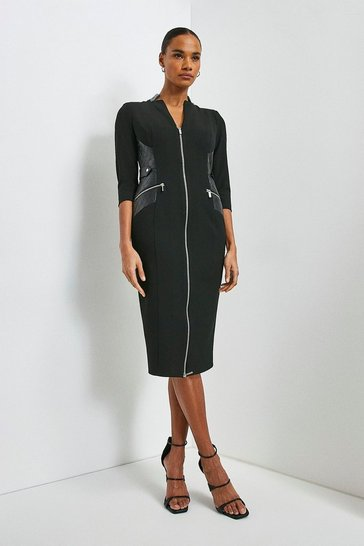 Black Forever Faux Leather Panelled Pencil Dress
