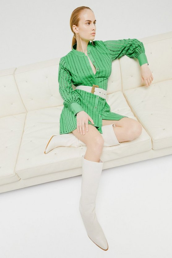 Green Cotton Broderie Shirt Dress