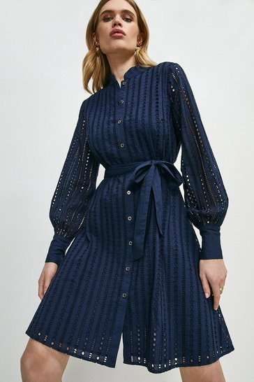 Navy Cotton Broderie Shirt Dress