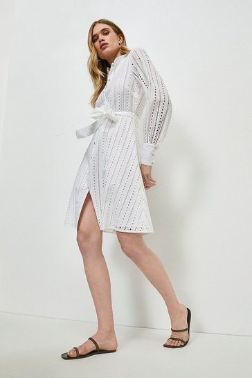 White Cotton Broderie Shirt Dress