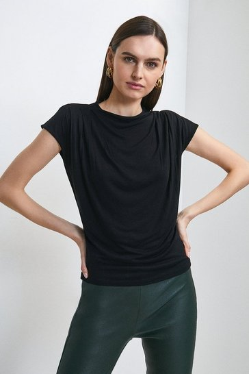Black Viscose Jersey Cowl Neck Top