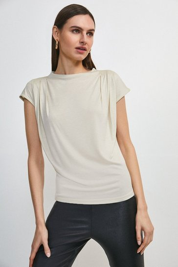 Mink Viscose Jersey Cowl Neck Top
