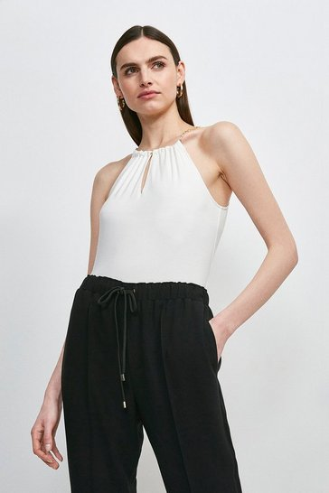 Ivory Chain Neck Halter Viscose Jersey Top