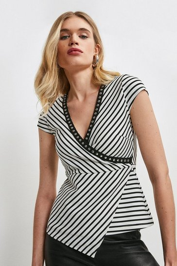 Mono Studded Stripe Ponte Wrap Top