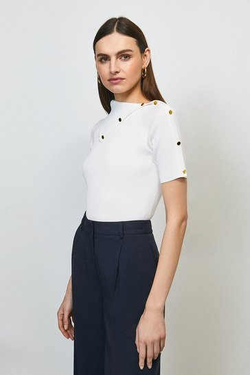 Ivory Envelope Neck Short Sleeve Top
