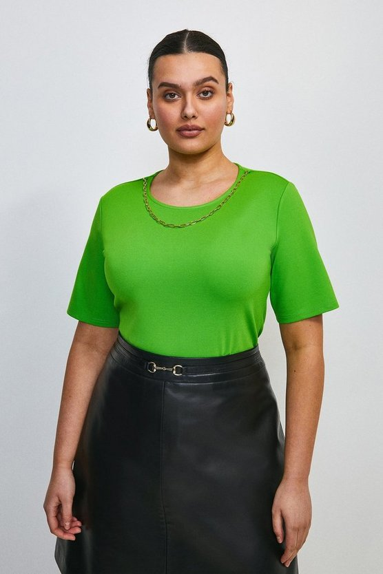 Bright green Curve Chain Detail Scoop Neck Jersey Top