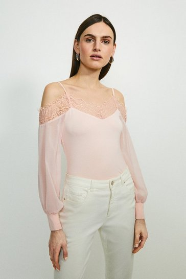 Blush Cold Shoulder Chiffon Sleeve Jersey Top