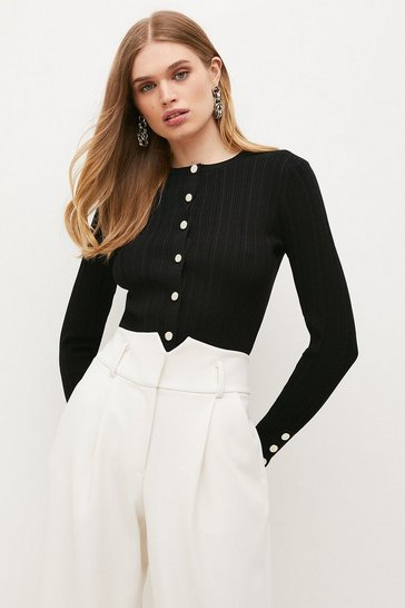 Black Knitted Rib Cardigan