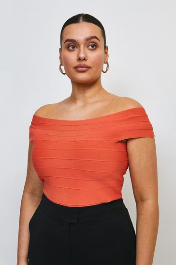 Orange Curve Bandage Bardot Knitted Top