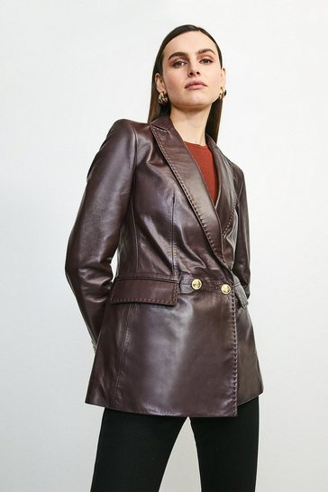 Fig Leather Fitted Gold Button Db Jacket