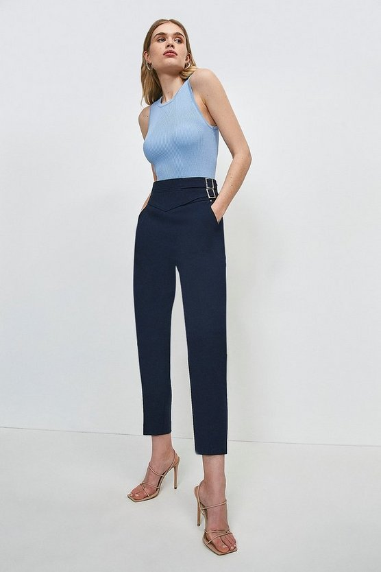 Navy Compact Stretch Buckle Trousers