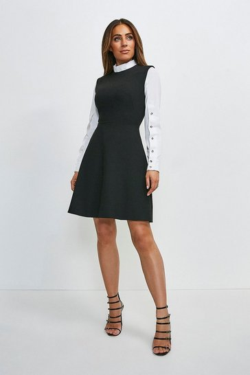Black Compact Stretch Contrast Sleeve A Line Dress