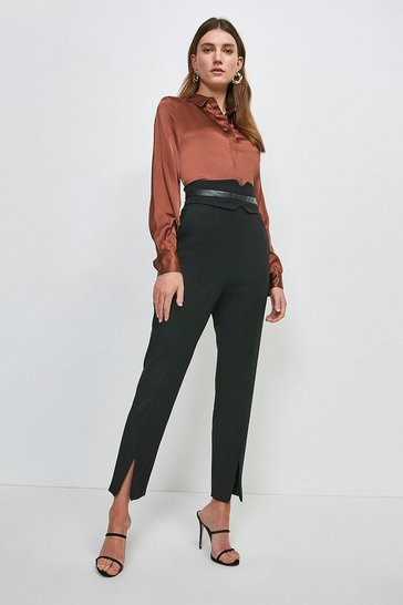 Black Compact Stretch High Waist Pu Panel Trouser