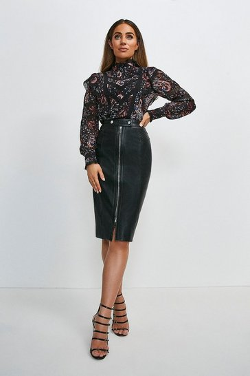 Black Leather Zip Through Biker Pencil Skirt