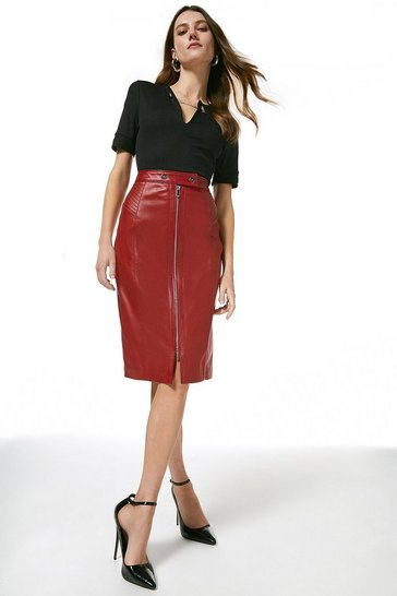 Red Leather Zip Through Biker Pencil Skirt