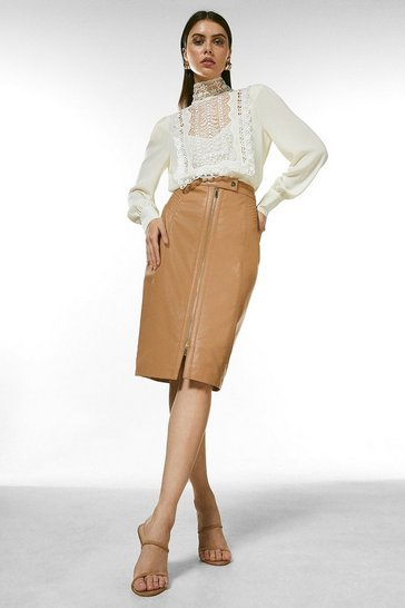 Tan Leather Zip Through Biker Pencil Skirt
