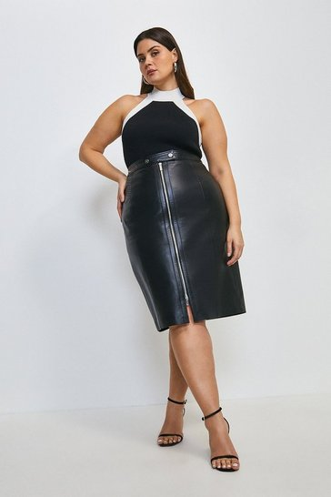 Black Curve Leather Zip Biker Pencil Skirt