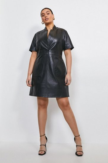 Black Curve Leather Collar Wrap Stitch Detail Dress