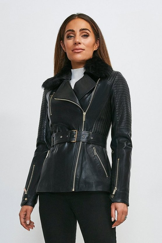 Black Leather  And Shearling Collar Biker Jacket