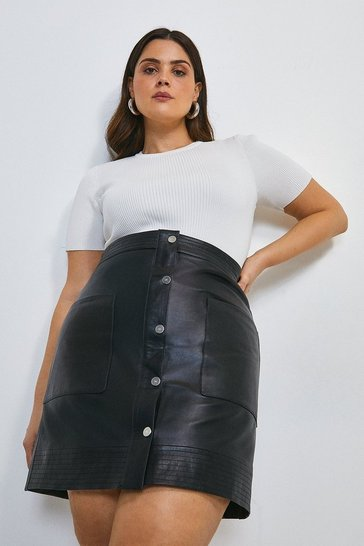 Black Curve Leather Multi Stitch Popper Mini Skirt