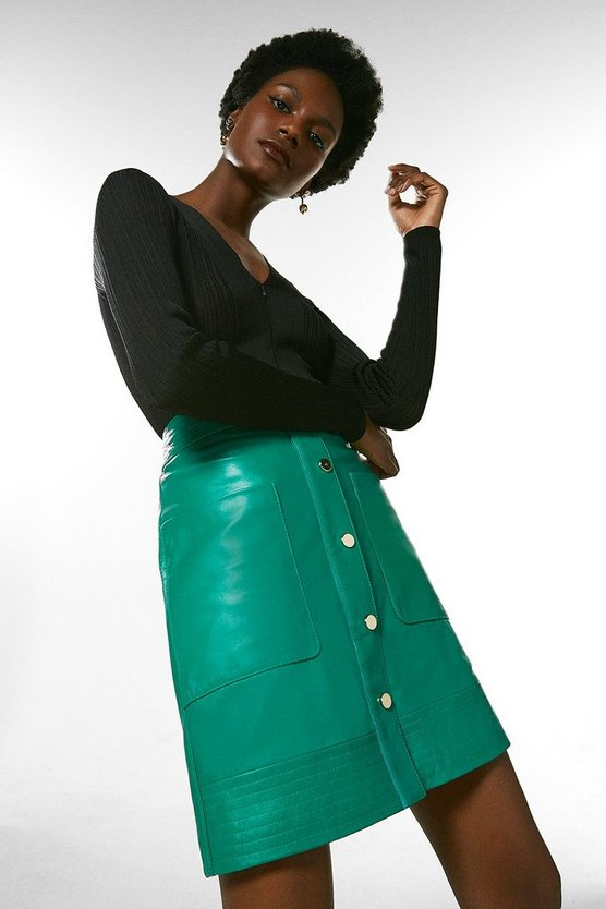 Bright green Leather Multi Stitch Popper Mini Skirt