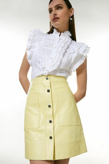 Lemon Leather Multi Stitch Popper Mini Skirt
