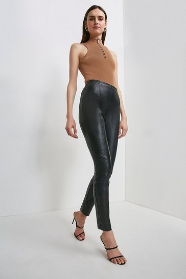 Black Stretch Leather Biker Legging