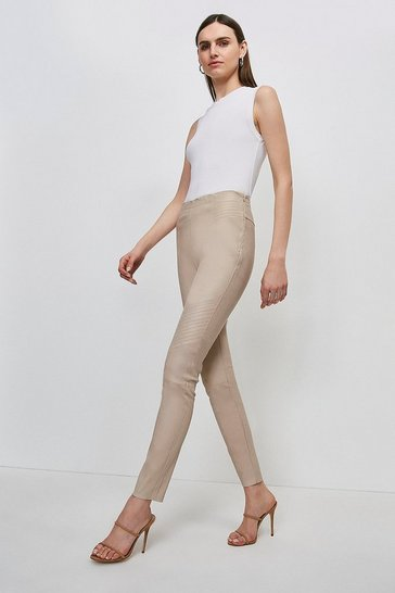 Nude Stretch Leather Biker Legging
