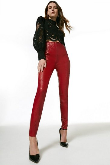 Red Stretch Leather Biker Legging