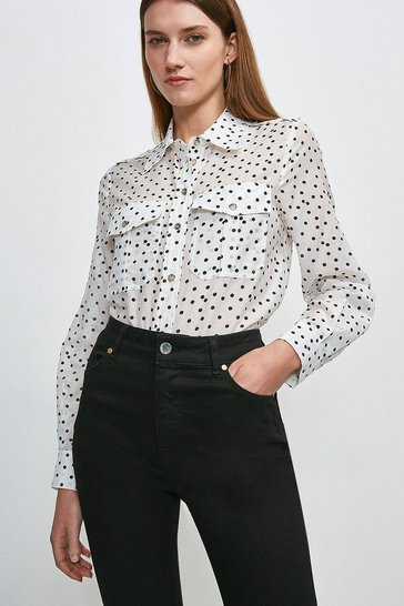 White Silk Cotton Spot Long Sleeved Shirt