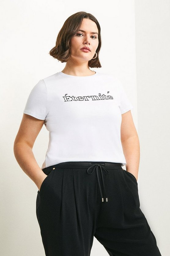 White Curve Eternite Flocked Slogan Jersey T-shirt