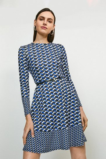 Cobalt Mixed Geo Printed Jersey Dress