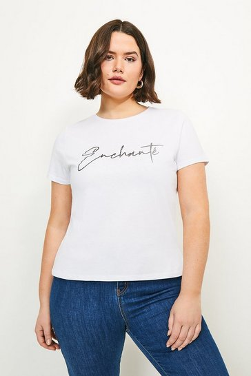 White Curve Enchante Silver Slogan Jersey T-shirt