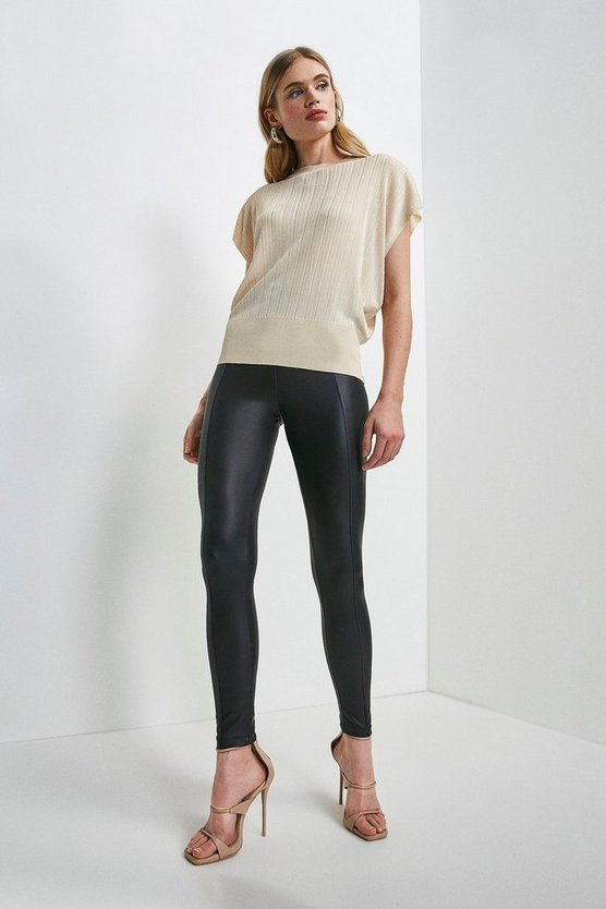 Black Seam Detail Faux Leather Legging