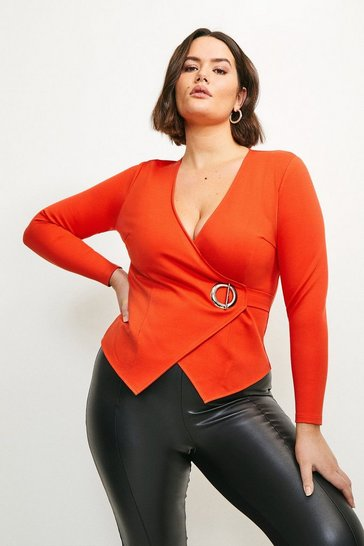 Orange Curve Strong Shoulder Eyelet Ponte Top