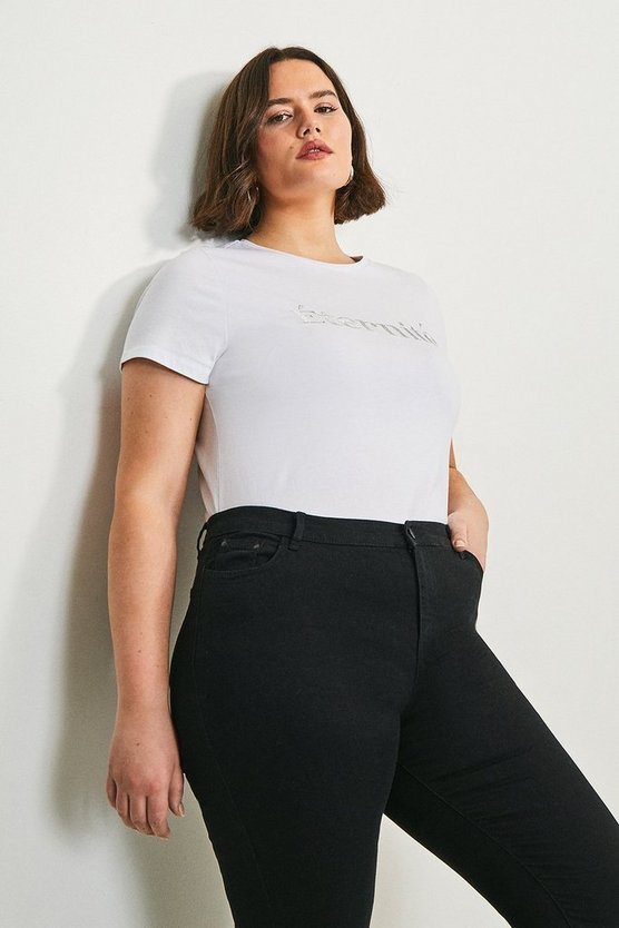 White Curve Eternite Slogan Jersey T-shirt