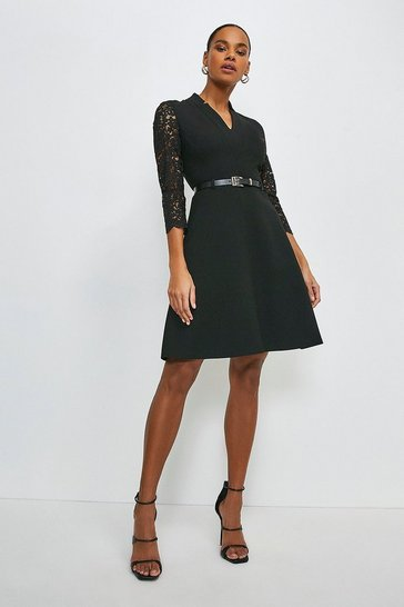 Black Forever Italian Lace Sleeve A Line Dress