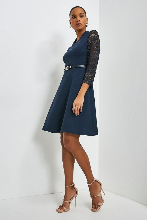Navy Forever Italian Lace Sleeve A Line Dress