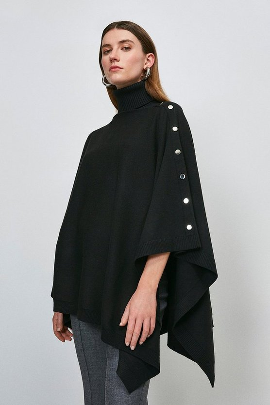 Black Roll Neck Knitted Poncho