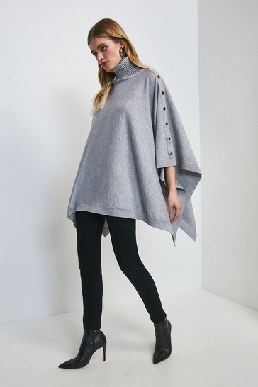 Grey marl Roll Neck Knitted Poncho