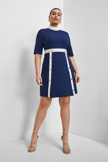 Navy Curve Snaffle Trim Colour Block Ponte Dress